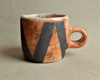 Ceramic cup, ceramics Raku,  pottery, gift, handmade ceramics, rustic, for kitchen, natural,utensils, orange cup, cup with ornament, rustic