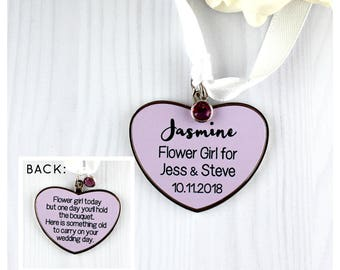Personalised  double sided heart shaped Flower Girl gift charm with Swarovski crystal