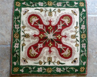 "Vintage Crewel Work Embroidered Cushion Cover 40cms or 16"" sq."