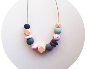 Jem - Pink, Navy and Green Handmade Polymer Clay Bead Necklace