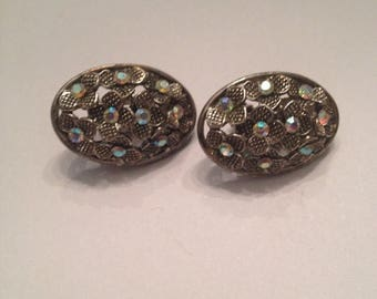 SALE Vintage Silver Flower Rhinestone Earrings Costume Jewelry