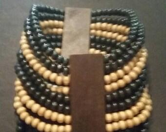 SALE Black and Natural Wood Bead Bracelet Boho Tribal Stretch Jewelry