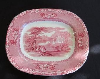 Red Transferware Vintage Platter Royal Staffordshire, JENNY LIND  Wilkinson, Wall decor Wall Display