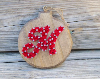 Personalized Christmas Ornament - String Art - Farmhouse Christmas - Wood Christmas Ornament - Rustic Christmas - Country Christmas