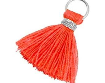 Tassels, tassel-3 pcs.-1.8 cm-Color selectable (color: red-orange)