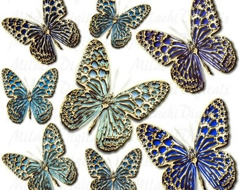 60% OFF SALE Gold Blue Butterflies Digital Clip Art - Commercial Use - Instant Download - M144