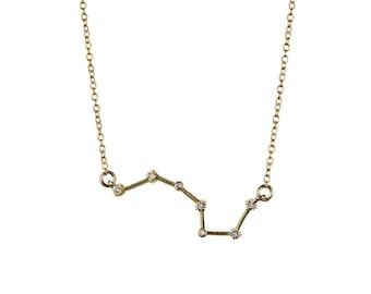 Callisto Constellation Necklace - gold & cubic zirconia constellation of Ursa Major necklace