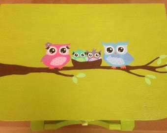 Suitcase keepsake OWL family personalized