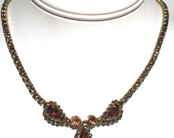 Vintage Weiss Rhinestone Necklace,Smokey Gray & Amber Crystals,Signed Necklace,Designer Jewelry