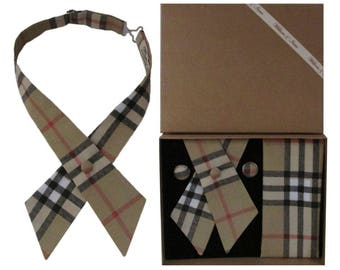 Beige Tartan Check Crossover Tie & Boxed Gift Set