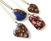 Amber multi jasper pendants multicoloured gemstone jewellery unique necklace gift for her