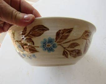 """Brown and Blue Flowers and Leaves Hand Made Pottery Bowl 9"""" Diameter x 3"""" Tall"""