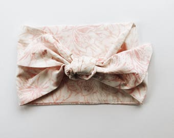 Pastel Batik with Blush Rose Pink Floral Headwrap/Headband - One Size Fits
