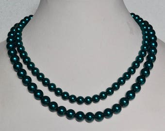 teal color necklace, double strand teal pearl necklaces,wedding necklace,bridesmaids necklace,glass pearls necklaces,statement necklace