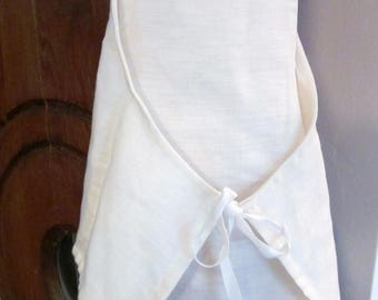 Pinafore dress in white linen in 2-8 years