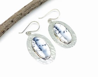 Dendrite opal stone earrings set in Sterling silver 925. Hammer finish. Natural authentic perfectly matched stones.