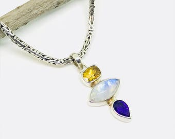 Rainbow Moonstone, citrine, amethyst Pendant/ necklaces set in Sterling silver 925. Natural authentic gemstone Length -1 .50 inches long.