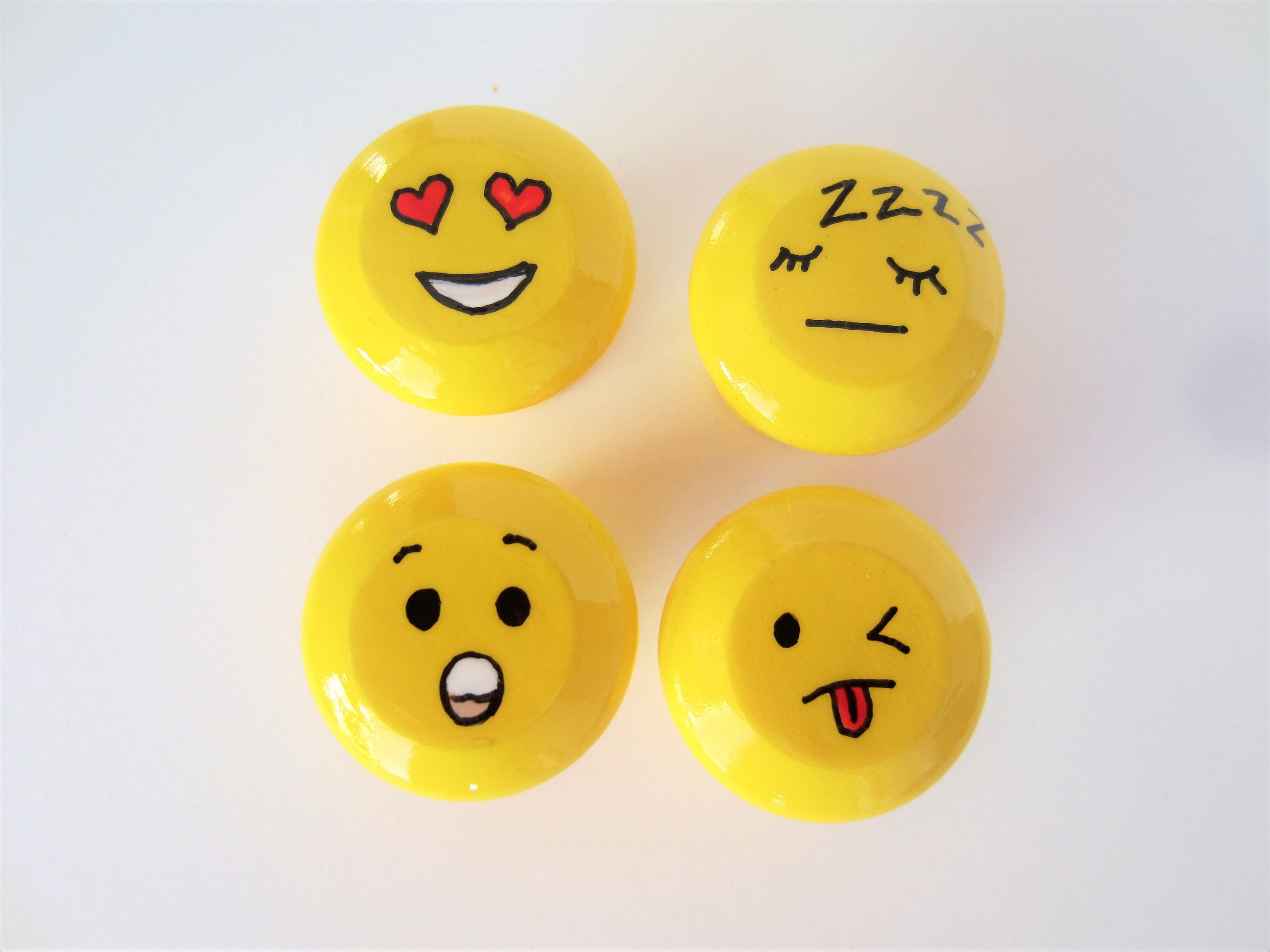 Emoji Cabinet Knobs, Emoji Decor, Handpainted Knobs, Painted Drawer Pulls,  Teen Room