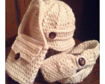 Handmade crochet 18 inch doll hat/ purse/ scarf set/ american girl/ others/ cream