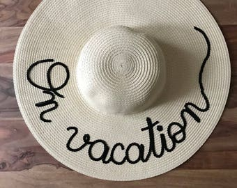 Personalised sun hat, customised hat, floppy hat, personalised floppy hat, bespoke hat, straw hat, hair accessories, on vacation hat