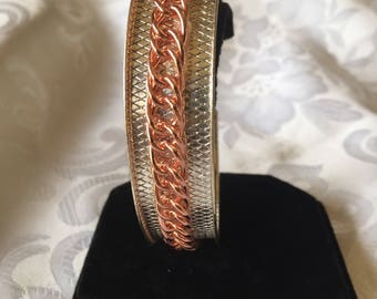 Cuff bracelet with copper chain