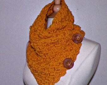 On Sale- Infinity Scarf Cowl Button Neckwarmer Winter Mustard Yellow Gold Freeform Crochet