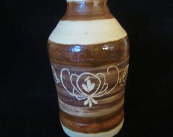 Stoneware Brown Jug - signed Bobby, possibly made by Bobby Ferguson. Incised with Folk Art design which continues around midsection. Gift!