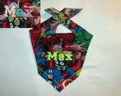 Marvel Comic Compilation Personalized Dog ~ Cat Bandana Small, Medium and Large ~ Montana Ranch Style