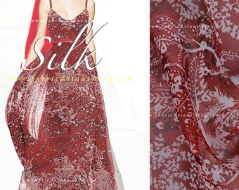 Deep red maroon silk chiffon fabric by the yard