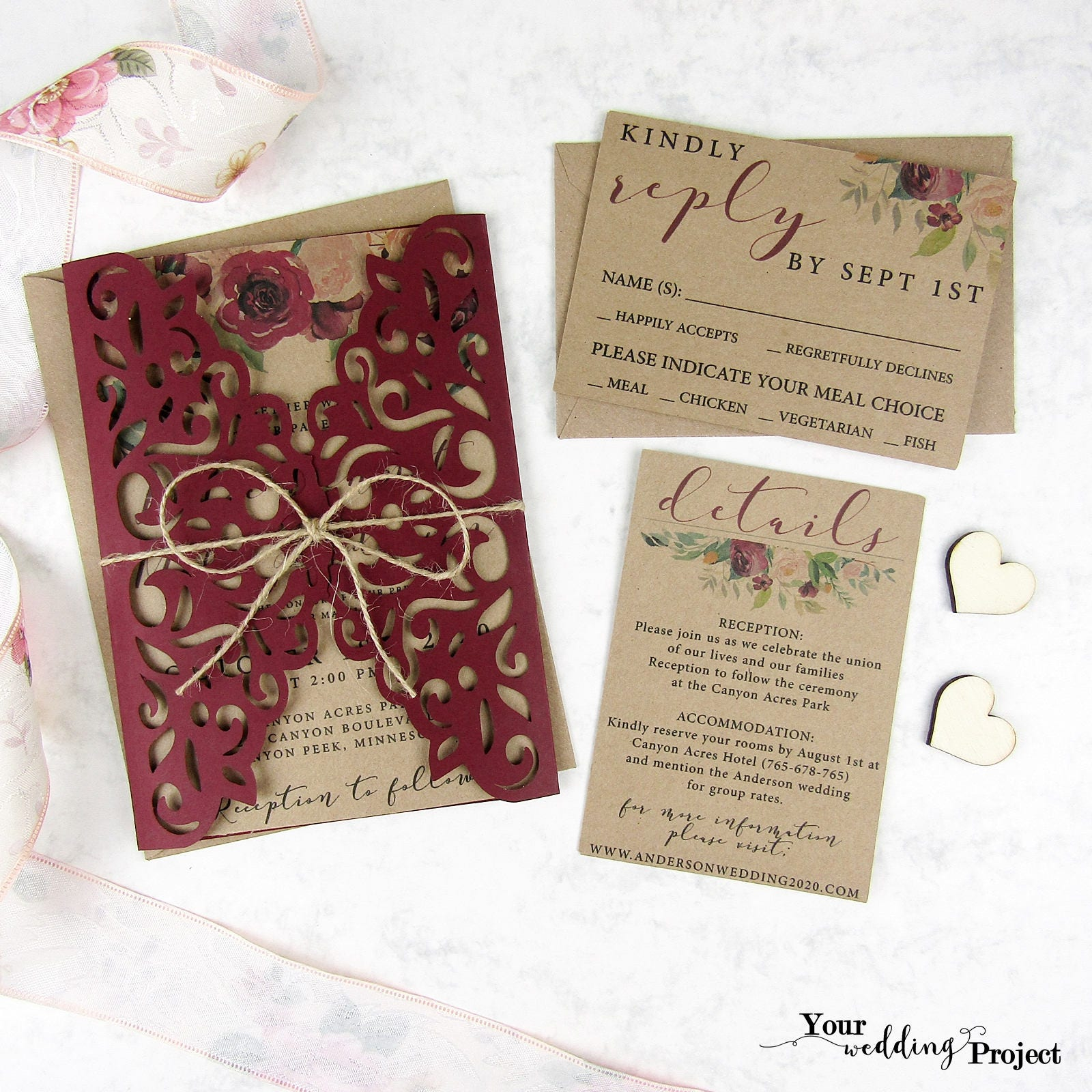 Laser Cut Wedding Invitation Set, Burgundy Gatefold Invitation ...