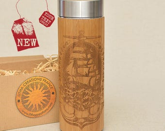 Customized Thermos Engraved Bamboo Wood SAILING in the MOONLIGHT Stainless Steel with Screw Lid