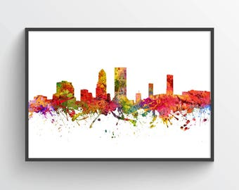 Jacksonville Florida Skyline Poster, Jacksonville Cityscape, Jacksonville Print, Jacksonville Decor, Home Decor, Gift Idea, USFLJA08P