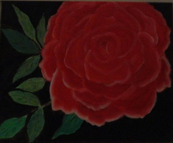 Red Rose Custome Hand Painted Acrylic Painting by Rosie Foshee