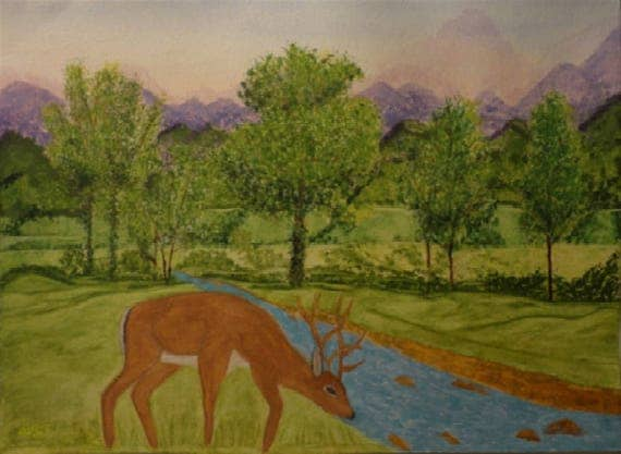 A Deer At Waterbrook Watercolor Painting by Rosie Foshee on 140 lb. watercolor paper