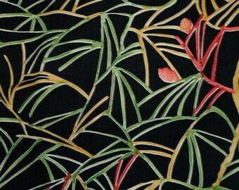 Vintage Japanese Silk Kimono Fabric Pine Needles and Cones
