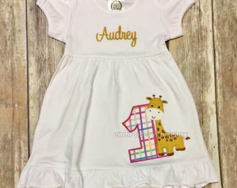 Giraffe Birthday Dress, Jungle Birthday Dress, Zoo Birthday Dress, Animal Birthday Dress, Girls Birthday Dress, Toddler Birthday Dress