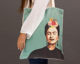 Frida Kahlo tote bag, Frida Kahlo bag, green tote bag, printed tote bag, frida kahlo print, canvas market bag, canvas tote bag green