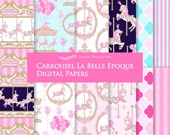 Carousel / Pink Carousel / Carrousel La Belle Epoque Digital Paper Pack - Instant Download - DP161