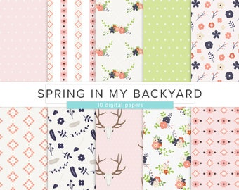 Spring In My Backyard / Digital Paper / Floral Tribal Pink Flowers Nature Deer Antlers Polka Dots Green Flower Pattern / INSTANT DOWNLOAD