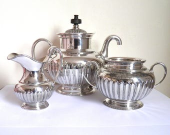 Antique Royle's Patent Self Pouring Teaset James Dixon Silver Plate c. 1886