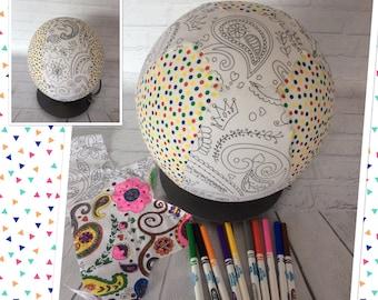 Colour Me, Balloon Ball Cover, Handmade, Fabric, Sensory Toy, Kids Ball, Colouring In, PRINCESS PAISLEY