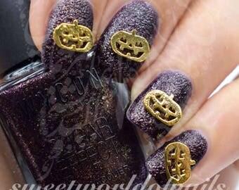 Halloween Nails 3D Gold Pumpkin Nail Charms /2PCS