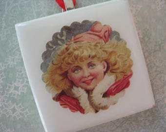 """Handcrafted Tile Christmas Tree Ornament 2"""" x 2"""", Holiday Papers on White Ceramic Tile, Made by Me"""