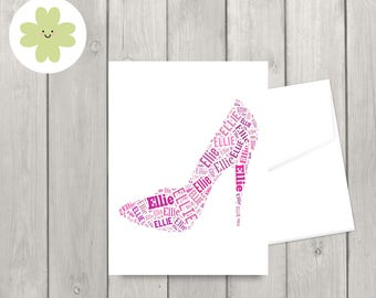 Stiletto word art card, high heeled shoe, for her, customised card