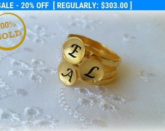 SALE 20%, 14K Gold Personalized Ring