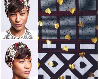 Gold hearts print African head wraps Scarves | African Headwraps | African Hair Wraps | African Headscarf | African Head Ties | Ankara Print