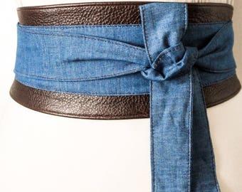 Brown Leather Denim Obi Belt | Denim belt | Denim Obi belt | Denim Corset Belt| Handmade Belt |Plus size belts | Brown Leather Obi Belt
