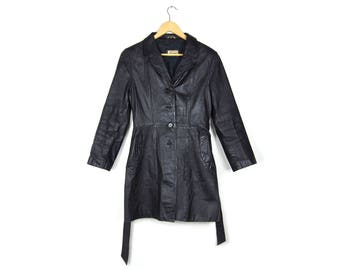 Rouge Black Leather Trench Coat