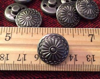 17 mm antique silver colored metal shank button, sunburst flowers, set of 10