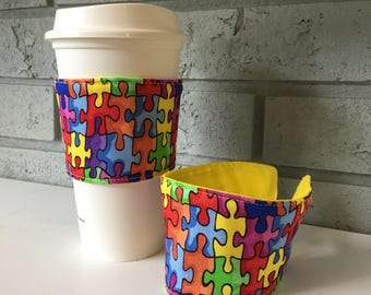 Coffee Cup Cozy, Cup Wrap, Coffee Cuff - Puzzle - Rainbow - Autism
